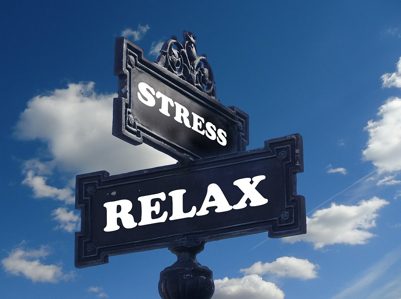 To skilt som viser veien til Sress og relax