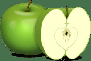 1 helt grønt eple og et delt grønt eple