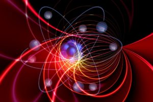 Fargerikt molekyl med elektroner i bane