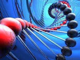 Blå og rød DNA streng