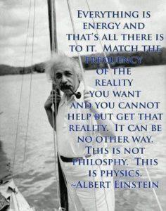 Albert Einstein og sitat om energi