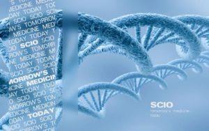 Blå bølgende DNA streng