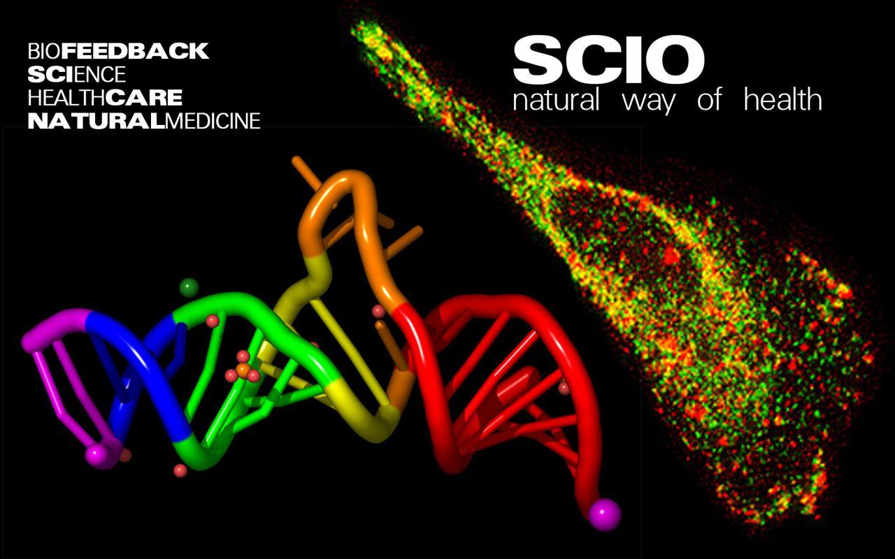 fargerikt DNA med sort bakgrunn og SCIO info